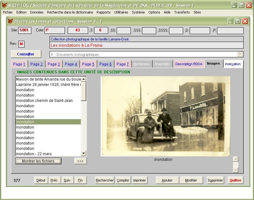 L'onglet IMAGES permet d'examiner les images référées dans la description...