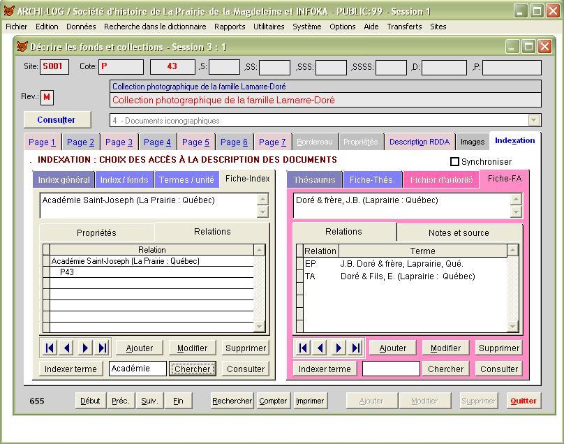Le module d'indexation est à portée de main, avec un thésaurus et un fichier d'autorité...